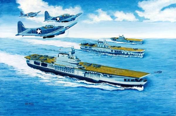 Uss Hornet Painting - Battle Of Midway  Uss Yorktown Cv-4 Uss Hornet Cv-5 Uss Enterprise Cv-6 by George Bieda