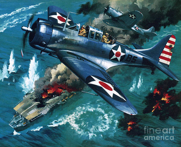 Bomber Painting - Battle Of Midway by Wilf Hardy