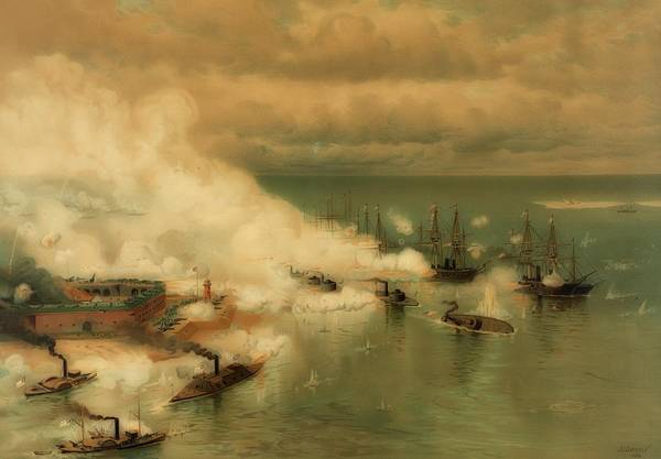 Alabama Painting - Battle Of Mobile Bay by Library Of Congress