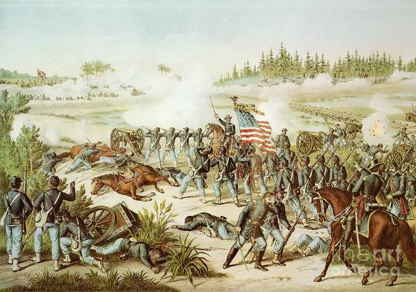 Wounded Soldier Painting - Battle Of Olustee by American School