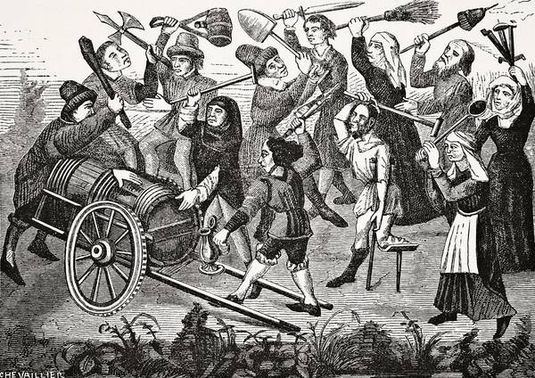 Barrels Drawing - Battle Of Peasants And Beggars Over A by Vintage Design Pics