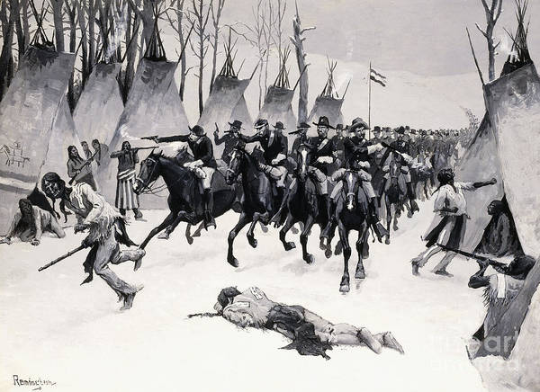 Indian Camp Painting - Battle Of Washita by Frederic Remington