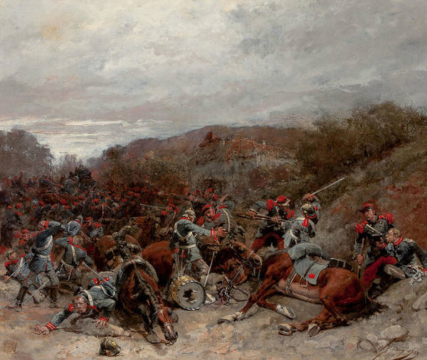 French Painter Wall Art - Painting - Battle Scene From The Franco-prussian War by Wilfrid Constant Beauquesne