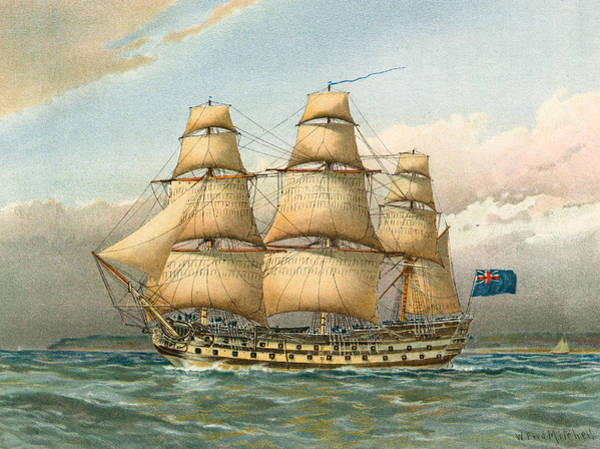 Galleons Wall Art - Painting - Battle Ship by William Frederick Mitchell