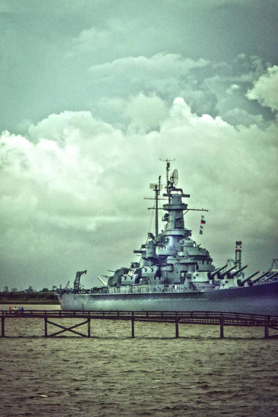 Photograph - Battleship In Mobile Bay by Judy Hall-Folde