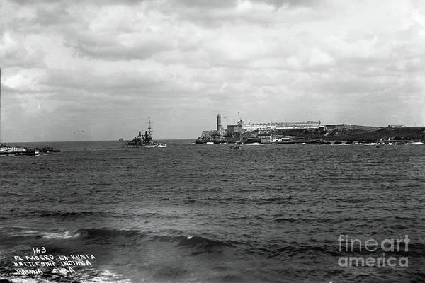 Photograph - Battleship Indiana Entered Havana Harbor, Cuba 1898 by California Views Archives Mr Pat Hathaway Archives
