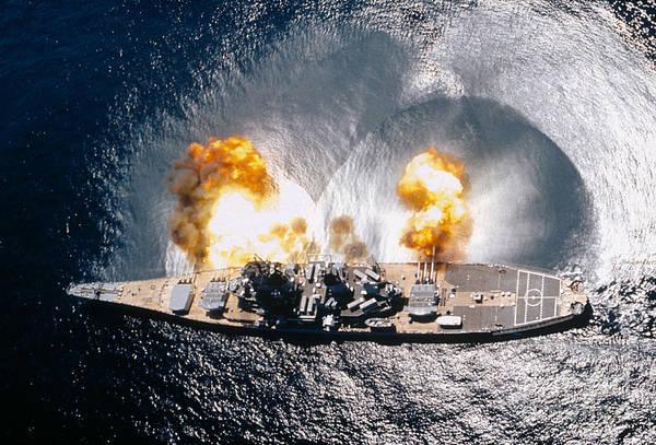 Aerial Combat Photograph - Battleship Iowa Firing All Guns by Stocktrek Images