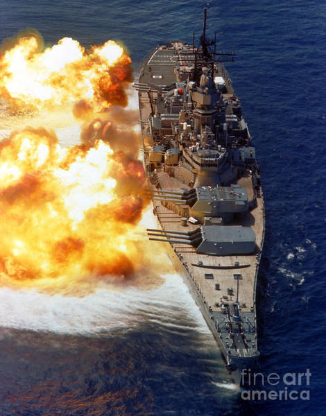 Wall Art - Photograph - Battleship Uss Iowa Firing Its Mark 7 by Stocktrek Images