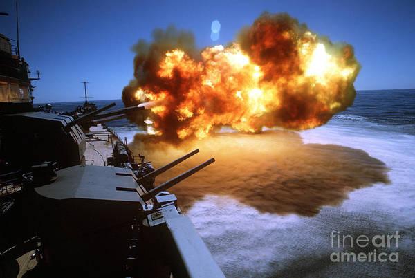 Gunfire Photograph - Battleship Uss Missouri Fires One by Stocktrek Images