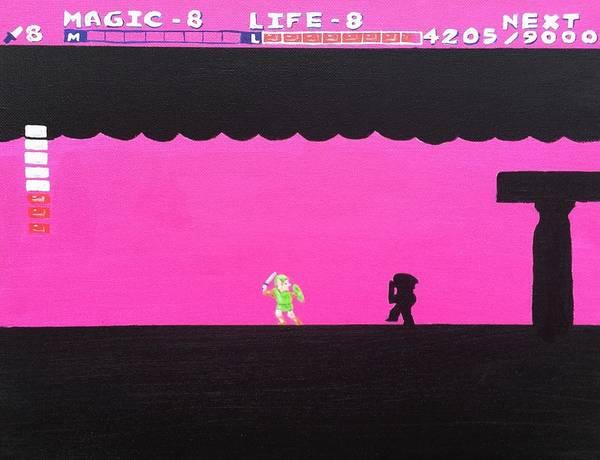 Videogame Painting - Battling Dark Link by Timothy Borkert
