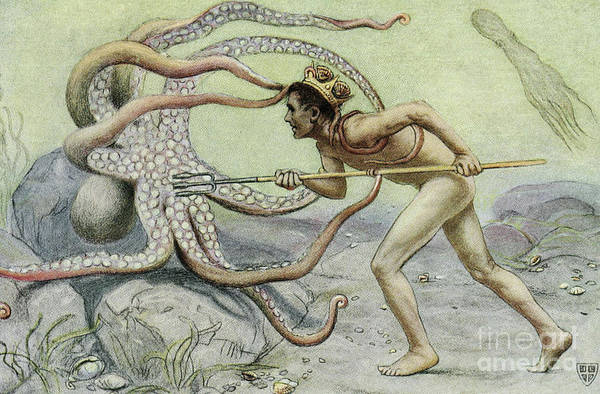 Wall Art - Painting - Battling The Great Octopus Scene From The Great Sea Horse by John Elliot