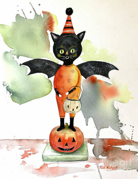 Painting - Batty Vintage Cat  by Hilda Vandergriff
