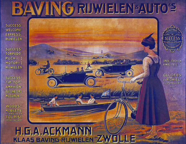 Vintage Automobiles Mixed Media - Baving Rijwielen And Autos - Bicycle - Vintage Advertising Poster by Studio Grafiikka