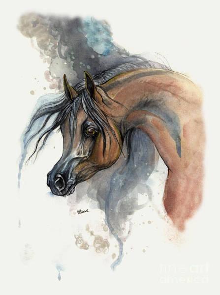 Wall Art - Painting - Bay Arabian Horse 2013 11 17 by Angel Ciesniarska