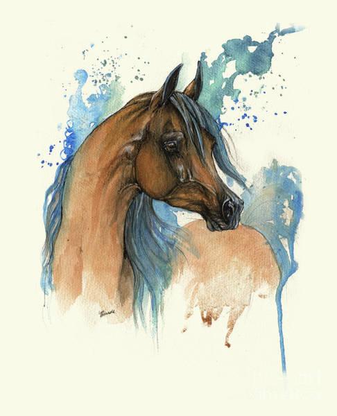 Wall Art - Painting - Bay Arabian Horse With Blue Mane by Angel Ciesniarska