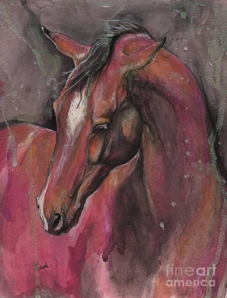 Andalusian Stallion Wall Art - Painting - Bay Horse Portrait 2017 05 09 by Angel Ciesniarska