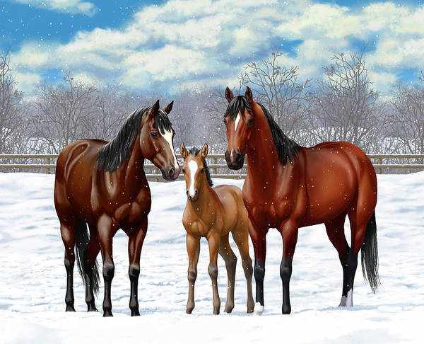 Wall Art - Painting - Bay Horses In Winter Pasture by Crista Forest