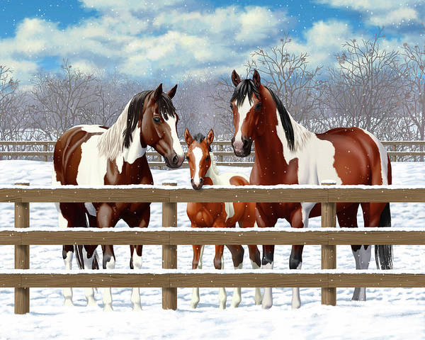 Wall Art - Painting - Bay Paint Horses In Snow by Crista Forest