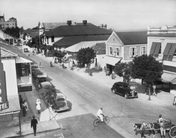Thoroughfare Photograph - Bay Street In Nassau by Underwood Archives
