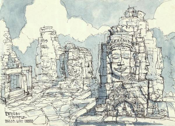 Painting - Bayon Temple - Ankor Wat by Cameron Berglund