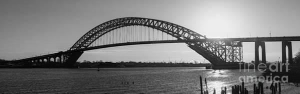 D800 Photograph - Bayonne Bridge Panorama Bw by Michael Ver Sprill