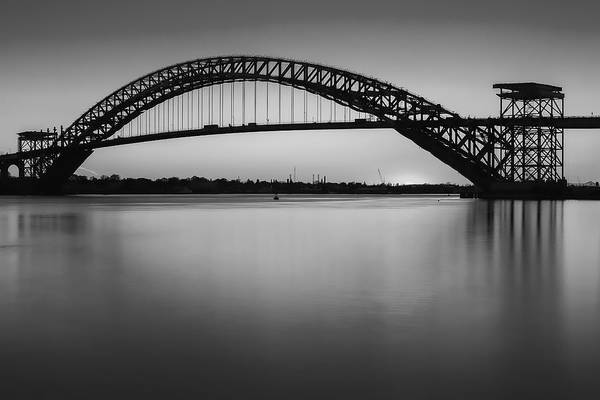 Photograph - Bayonne Bridge Sundown Bw by Susan Candelario
