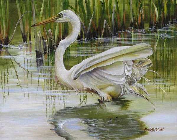 Wall Art - Painting - Bayou Caddy Great Egret by Phyllis Beiser