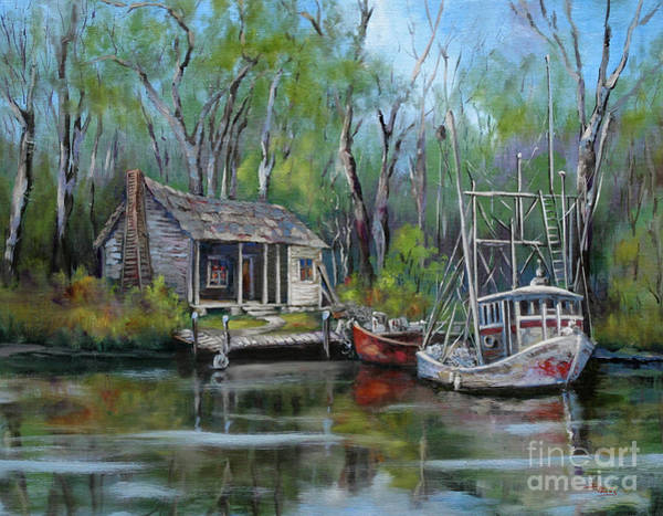 Swamp Painting - Bayou Shrimper by Dianne Parks
