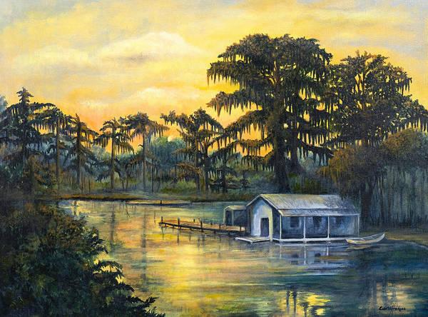 Camp Painting - Bayou Sunset by Elaine Hodges