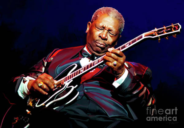 Shower Curtain Painting - Bb King by Paul Tagliamonte