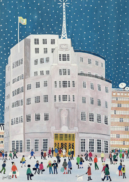 Bbc Painting - Bbc's Broadcasting House  by Judy Joel