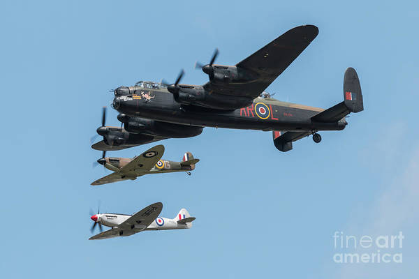Wall Art - Digital Art - Bbmf Lancaster And Spitfires by J Biggadike