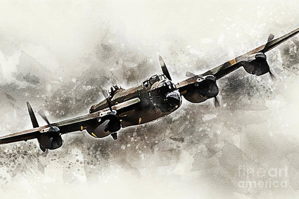 Wall Art - Digital Art - Bbmf Lancaster Bomber - Painting by J Biggadike