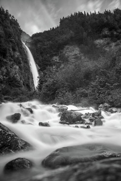 Photograph - Bc Falls Bw by Ryan Heffron