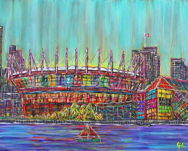 Metro Vancouver Wall Art - Painting - Bc Place, Vancouver, Alive In Color by Jeremy Aiyadurai