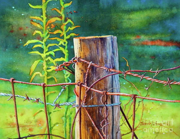 Fencepost Painting - Be Careful Of The Barbs by Sarah Luginbill