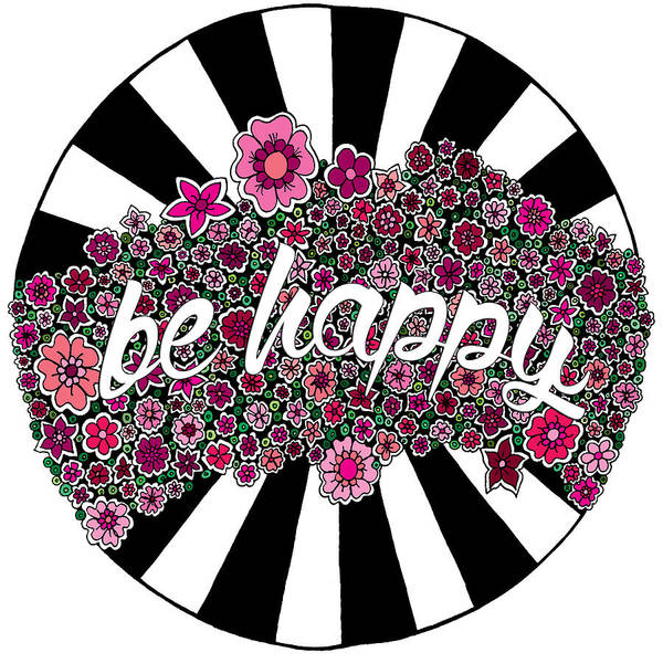 Black White And Red Wall Art - Digital Art - Be Happy by Elizabeth Davis