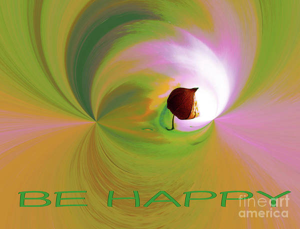 Digital Art - Be Happy, Green-pink With Physalis by Eva-Maria Di Bella