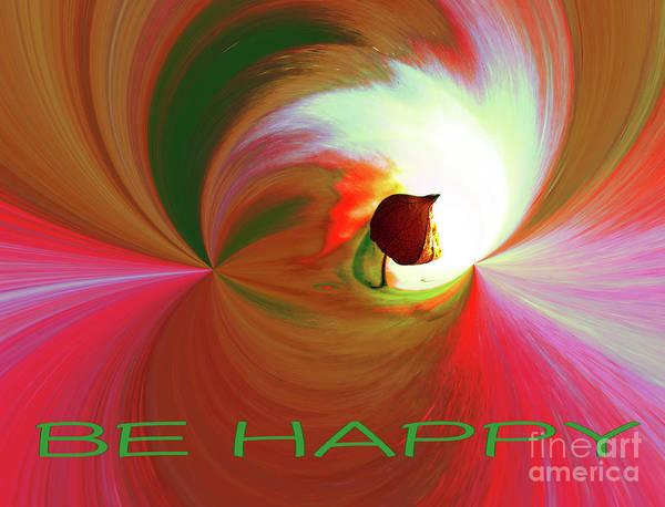 Digital Art - Be Happy, Red-rose With Physalis by Eva-Maria Di Bella