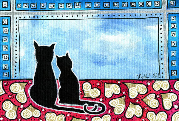 Painting - Be My Valentine - Black Cat Card by Dora Hathazi Mendes