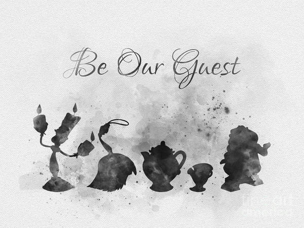 Beauty Mixed Media - Be Our Guest Black And White by My Inspiration