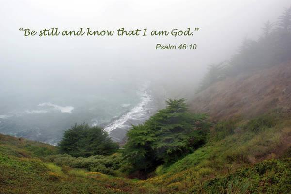 Bible Quotes Photograph - Be Still - Inspirational - Sea Coast by Nikolyn McDonald