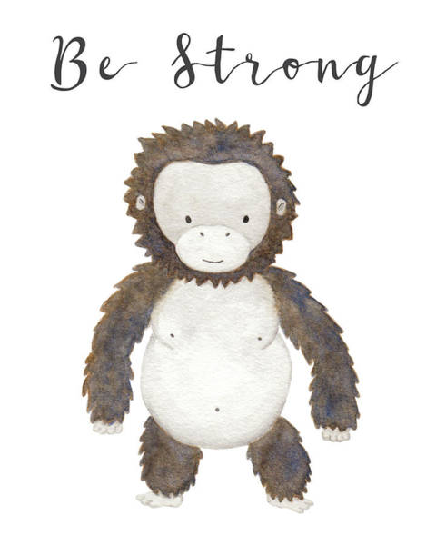 Baby Gorilla Painting - Be Strong by Kim W Nolan