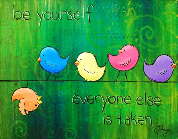 Painting - Be Yourself - Birds by Emily Page