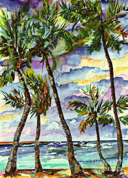 Painting - Beach And Palms Tropical Watercolor Painting by Ginette Callaway