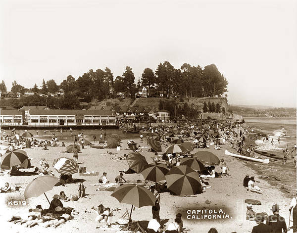 Photograph - Beach At Capitola California Circa 1935 by California Views Archives Mr Pat Hathaway Archives