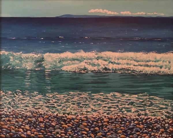 Peloponnese Painting - Beach At Kalamitsi, Near Kardamili, Peloponnese, Greece by John Cullen