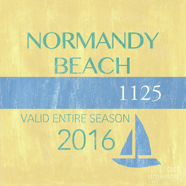 Signs Painting - Beach Badge Normandy Beach 2 by Debbie DeWitt