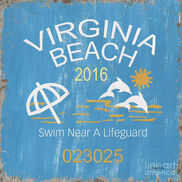 Wall Art - Painting - Beach Badge Virginia Beach by Debbie DeWitt
