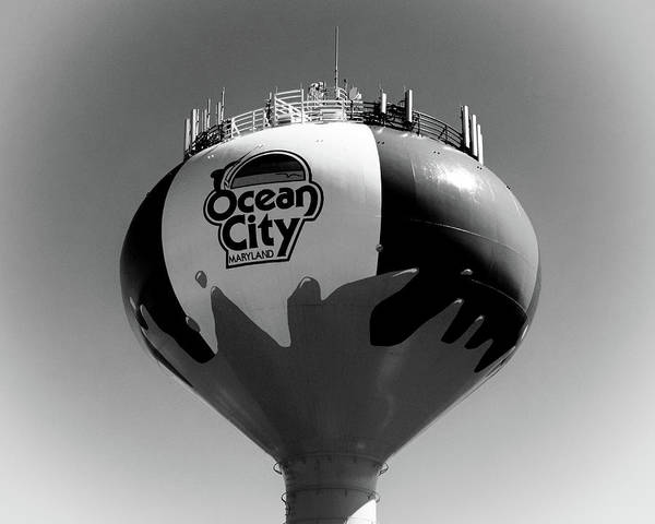 Photograph - Beach Ball Water Tower In Ocean City Black And White by Bill Swartwout Photography